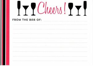 Cheers From The Bar Lined Recipe Cards - New In Package - 10 Count
