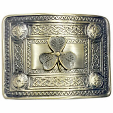 TE Scottish Kilt Belt Buckle Irish Shamrock Antique Finish Celtic Buckles 4 Demo