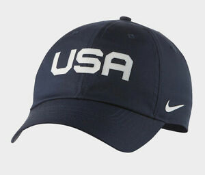 Nike USA Heritage 86 Basketball Golf Cap Hat Casual Obsidian/White CW6006-451