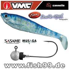 3 VMC-CANNELLE Flexi Double Shad SB + SASAME-MUSAGA Jig-Haken mit Spirale 10g