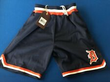 MLB Mitchell & Ness Detroit Tigers Navy Playoff Win Throwback Shorts Small