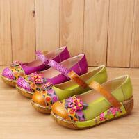 SOCOFY Women Platform Vintage Folklore Leather Floral Hook&loop Shoes Casual