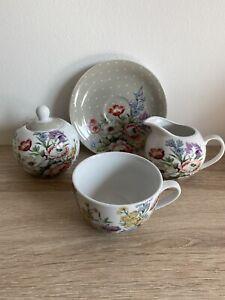 Katie Alice Tea For One Floral/Grey Teacup & Saucer, Milk Jug, Lidded Sugar Bowl