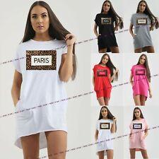 Womens Ladies Baggy 'Paris' Slogan Animal Leopard Print T Shirt Tops Mini Dress