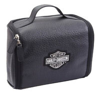 Harley-Davidson Top Grain Leather Bar & Shield Black Toiletry Kit 99508 BLK
