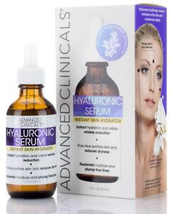 Advanced Clinicals Hyaluronic Acid Serum Instant Skin Hydrator 1.75 Fl Oz (52mL)
