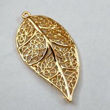 18pcs Vintage Gold Alloy Hollow Leaf Jewelry Pendant Charms 21x42mm 39731