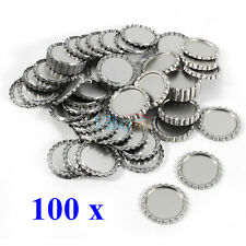 "100Pcs Lot Flat 1"" Silver Flattened Linerless Bottle Caps DIY Craft No Liners"