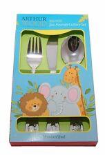 Zoo Animal Childrens Cutlery Set Elephant Giraffe Lion Stainless Steel Kids 3+