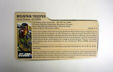 VINTAGE ALPINE FILE CARD G.I. Joe Action Figure GREAT SHAPE 1985