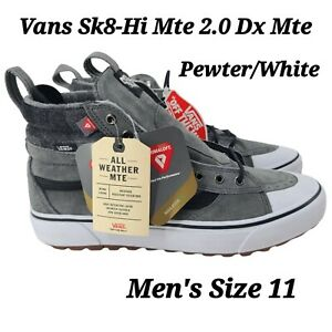 VANS Sk8 Hi MTE 2.0 DX, Mens US Size 11 Sneaker Boot Pewter White Plaid NEW