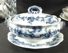 Furnivals Flow Blue Small Tureen w/ Underplate Unknown Pattern