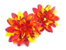"2X Artificial Silk Red Dahlia Flower Head 4"" for Home Wedding decoration Clip"