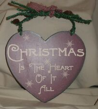 """CHRISTMAS IS THE HEART OF IT ALL  Heart Shaped Hanging Wood Plaque 6.75"""" x 6"""""""