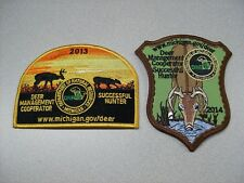 2013 & 2014 MICHIGAN SUCCESSFUL DNR DEER HUNTING PATCHES - BEAR - TURKEY -