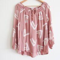 Lucky Brand Women's Top Blouse Large Pink Peasant Boho Tassel Viscose