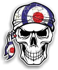 Cranio Con Testa Bandana & mod style RAF Bersaglio VINILE CAR Scooter Adesivo Decalcomania