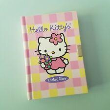 Hello Kitty Diary Lock Pink Yellow Gingham Hard Cover Journal Key Kawaii Bouquet