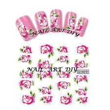 Nail Art Water Transfer Stickers-Decals Fiori Rosa-Adesivi Ricostruzione Unghie!