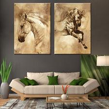 Modern Abstract Oil Painting Wall Decor Art Huge - Retro sketch horses 2pcs
