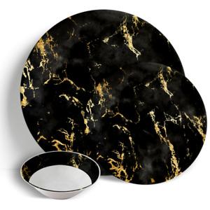 "Black Gold Marble - 18 Piece Dinner Set 10.5"" Plates 7.5"" Side Plates 7"" Bowls"