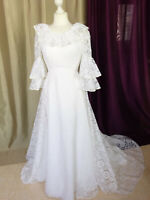 Robe de mariée vintage 70/80's dentelle Mariées de rêve Taille FR36 U4 UK8 EUR34
