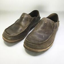 OLUKAI Moloa Brown Leather Moc Toe Casual Comfort Loafer Slip-On Shoes Men's 8.5