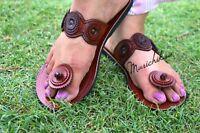 """Real Leather Sandal For Women Handmade Ladies Natural Brown Slipper """"Poppy"""""""
