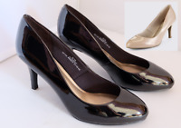 M&S Collection Shoes Wider Fit Caramel / Black Patent Stiletto Heel Court
