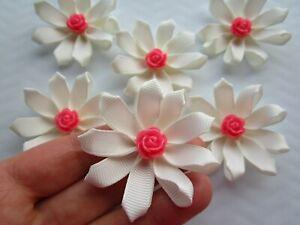 6 x Ribbon Flower Bow Appliques Craft Sewing DIY Wedding Decoration 6 cm UK
