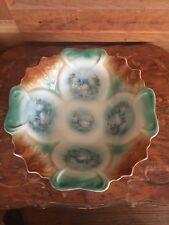 Antique Porcelain Swan Pattern Scalloped Edges Serving Bowl
