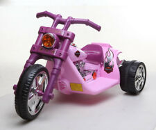Kids Electric Ride on Motor bike Harley Style Motorcycle 2x Motor 2x Speed PINK