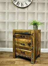 Reclaimed retro style wood bedside table study office drawer unit home decor