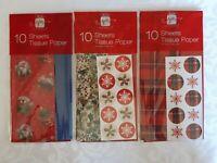 Christmas Tissue - Gift Wrap, Bag & Hamper Fill - Pack of 10 Sheets, 3 Designs