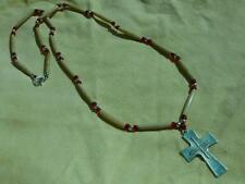 Guys or Gals! Thin Bone Red Pony Bead Cross Necklace - Native American