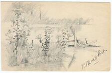 William Merritt Post Signed Pencil Drawing