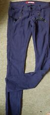 MISS SIXTY 60 PURPLE SUEDE EFFECT BRUSHED COTTON STRETCH SKINNY JEANS W24 USED