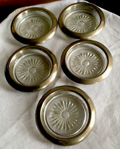 5 Romano Silver Plated Rim Glass Coasters  Made In Hong Kong 4 Inch Diameter.