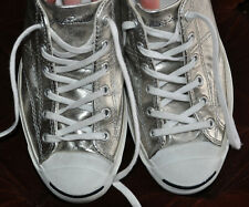 Converse Leather Jack Purcell Signature Helen Ox Silver Sneaker Shoes M-7.5 W-9