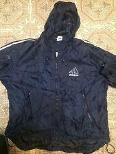 Vintage 90s Early 2000s Adidas Blue Windbreaker/Rain Full Zip Jacket size L