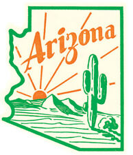 Arizona  Green state  map   Vintage 1950's Style  Travel Decal