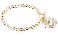 Chunky gold chain bracelet with a very pretty crystal heart ornament
