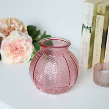 Small Pink Leaf Print Glass Vase candle holder ornament home decor pretty