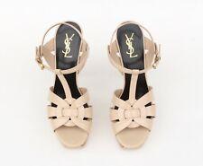 YSL Saint Laurent Tribute Nude Patent Leather T-Strap Sandal Sz 40.5 - US 10.5