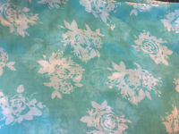 LOVELY LONG TURQUOISE & WHITE FLORAL PRINT SUMMER SCARF WRAP SARONG