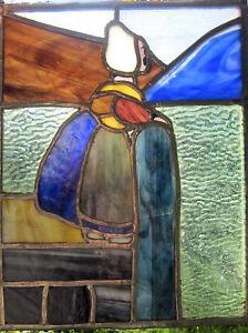 GLASBILD  Bleiverglasung ca. 1920-30, 30x24cm, seltenes Unikat