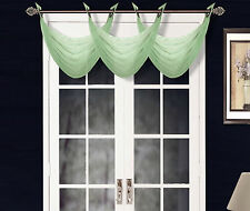 1 ELEGANT GROMMET VOILE SHEER VALANCE SWAG TOPPER WINDOW DRESSING K36 SAGE