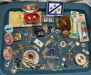 JUNK DRAWER Stuff - Playing Cards, Marbles, Jewelry Key Chains Coca Cola Tins