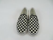 Vans Slip On Black White Checkered Canvas Skate Shoes Athletic Low Top Womens 6