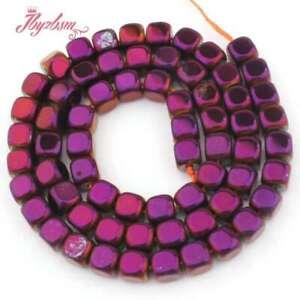 "6mm Purple Cube Suqare Metallic Coated Hematite No Magnetic Stone Loose Beads15"""